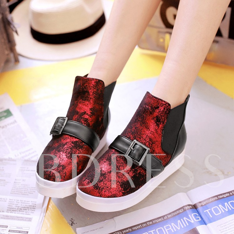Plus Size Shoes Color Block Elastic Flat With Boots