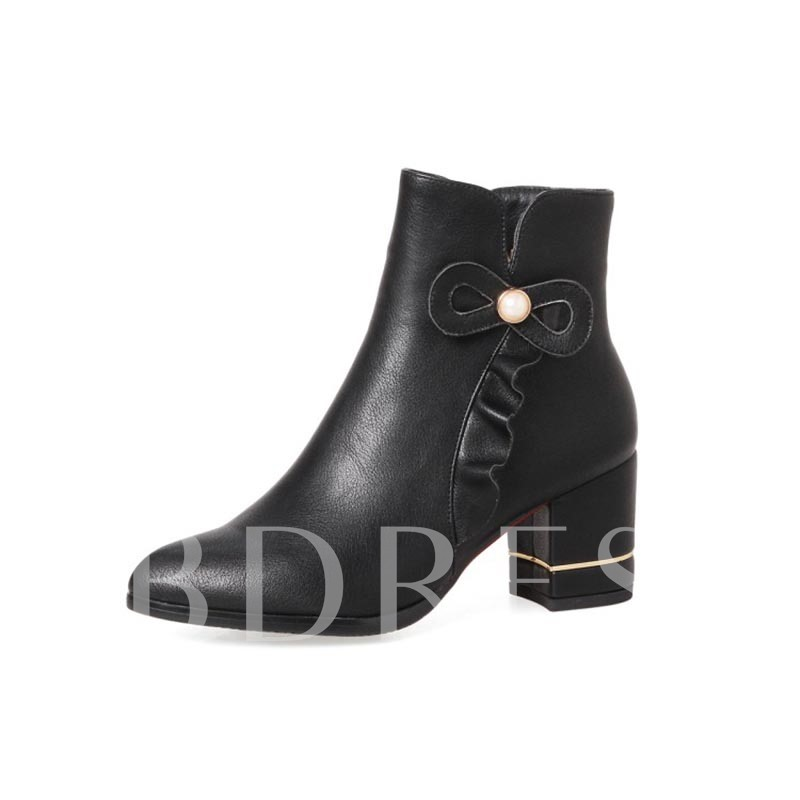 Plus Size Shoes Ruffles Beads Chunky Heel Boots for Women