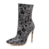 Ultra High Heel Boots Rhinestone Floral Shoes for Women
