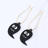 Black Ghost Design Alloy Overgild Halloween Earrings