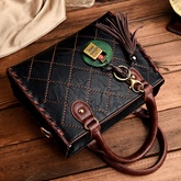 Classic Quilted Lining Tassel Design Zipper Tote Bag