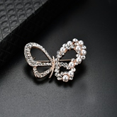 Butterfly Zircon Inlaid Pearl Alloy Women's Brooches