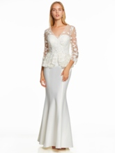 V Neck Long Sleeves Appliques Mermaid Evening Dress