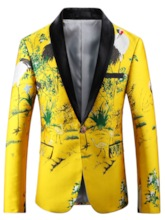 Chinese Style Notched Collar One Button Bright Printed Slim Fit Men's Blazer