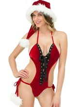 Christmas Hollow Lace-Up Red Sexy Women Costume