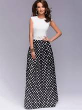 Sleeveless Patchwork Polka Dots Women's Maxi Dress