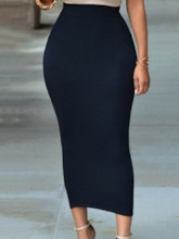 Plain High Waist Ankle Length Elegant Women's Skirt