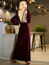 Fuchsia Velvet Women's Maxi Dress