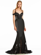 Open Shoulder Lace Zipper-Up Mermaid Evening Dress