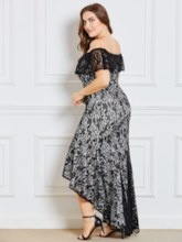 Plus Size Off Shoulder Lace Women's Maxi Dress