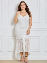 Plus Size White Asym Lace Women's Maxi Dress