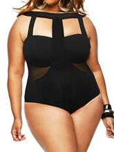 Sexy Hollow Mesh Patchwork Plus Size One Piece Swimsuit