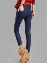 Plain Patchwork Mid-Waist Women's Leggings