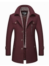Scarf Collar Midi-Length Woolen Men's Trench Coat