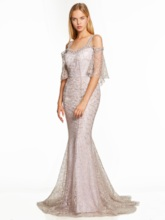 Open Shoulder Backless Lace Mermaid Evening Dress