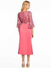 Scoop Neck Half Sleeves Embroidery A Line Evening Dress