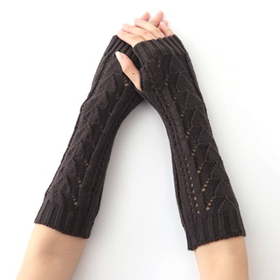 Hollow Out Acrylic Solid Color Knitting Wool Gloves
