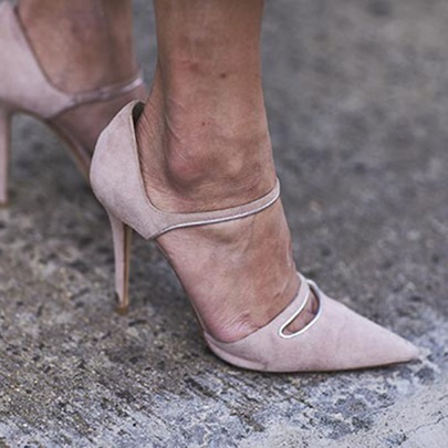 Beige High Heels Slip On Pointed Toe Pumps Shoes(Plus Size Available)
