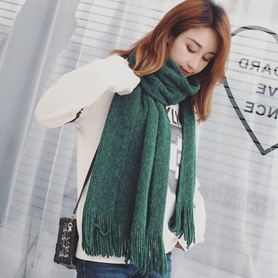 Solid Color Knitting Wool Tassel Thicken Scarfs