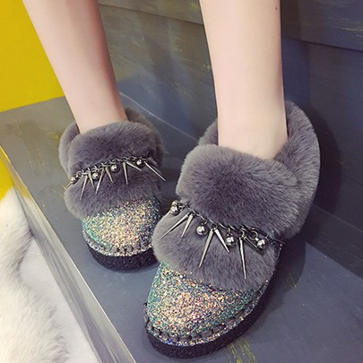 Sequin Rivet Plush Warm Chic Boots Flat With Shoes for Women