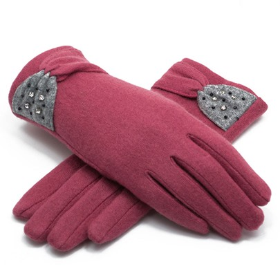Cashmere Wool Touch Screen Bowknot Gloves