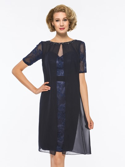 Short Sleeves Beading Lace Mother Of The Bride Dress