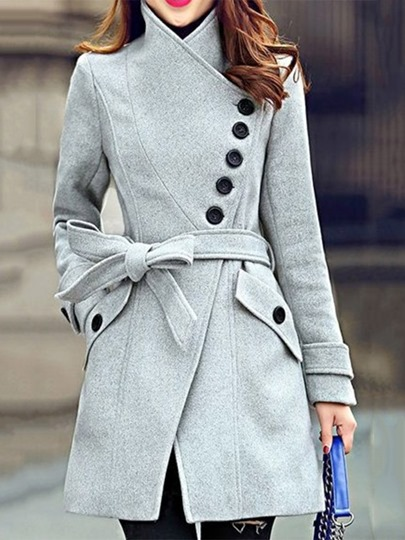 Stand Collar Single-Breasted Women's Overcoat