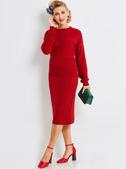 Winter Red Thicker Long Sleeves Women's Two Piece Dress