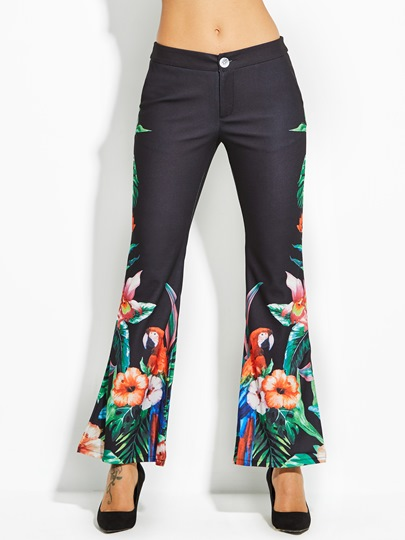 Slim Bird Floral Print Vacation Women's Bellbottoms