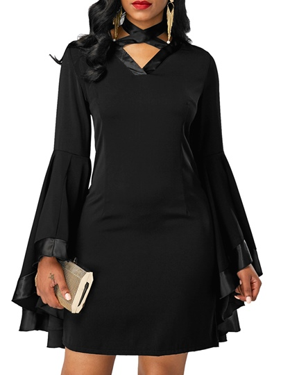 Black Bell Sleeve Back Zipper Women's Bodycon Dress