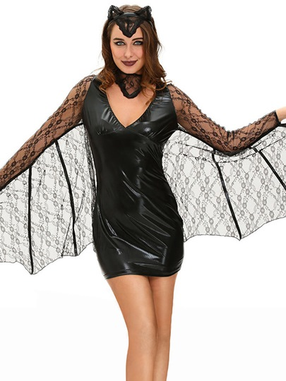Lace Long Sleeve Sexy Vampire Bat Women Dress