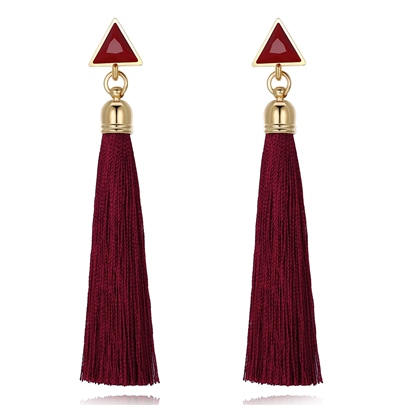 Long Chain Triangle Alloy Tassel Earrings