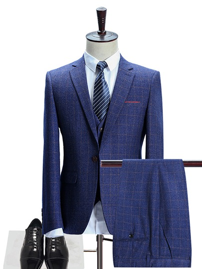 Notched Collar Plaid One Button Luxury Slim Fit Men's Dress Suit