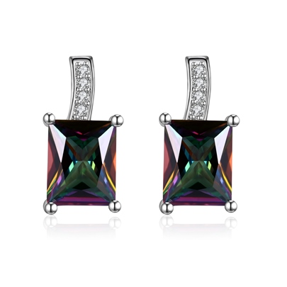 Rectangle Diamante Zircon Inlaid European Earrings