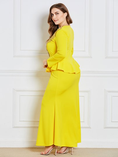 Plus Size Long Sleeve Double-Layered Women's Maxi Dress