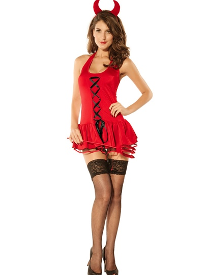 Backless Lace-Up Sexy Demon Bubble Dress