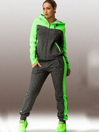 Patchwork Color Block Women' s Casual Pants Suit