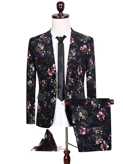 Notched Collar Flower Printed Slim Fit Men's Dress Suit