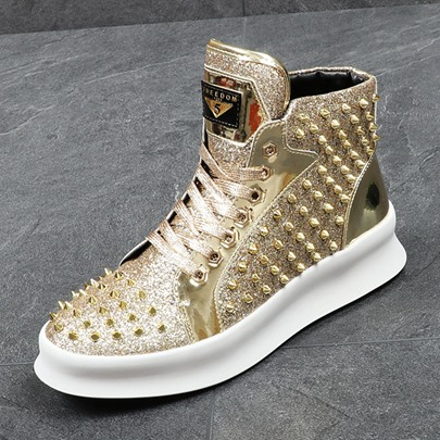 Punk Rivet Sequin High Cut Shoes Men's Fashion Sneakers