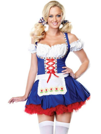 Low-Cut Lace-Up Mesh Maid Costume Uniform Temptation