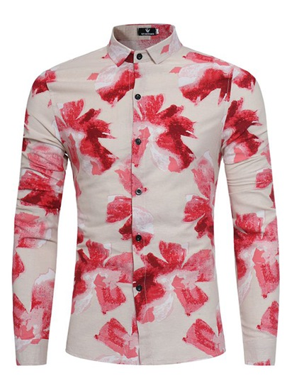 Chinese Style Lapel Folral Printed Single-Breasted Slim Fit Men's Shirt