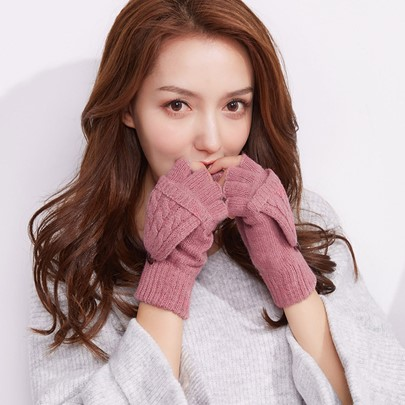 Solid Color Fingerless Gloves Cashmere Wool Gloves