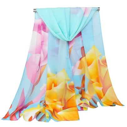 All Match Flower Printing Chiffon Thin Scarfs