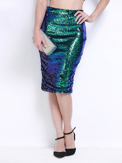 Sexy Sequins High Waisted Straight Women's Skirt
