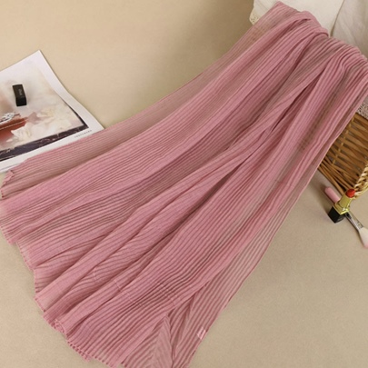 Plain Color Pleated Cotton Linen See-Through Scarfs