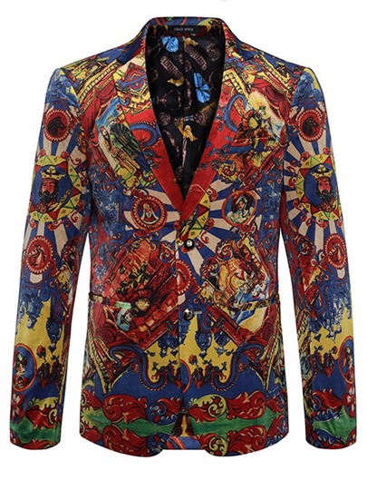 Notched Collar African Vintage Printed Double Button Slim Men's Blazer