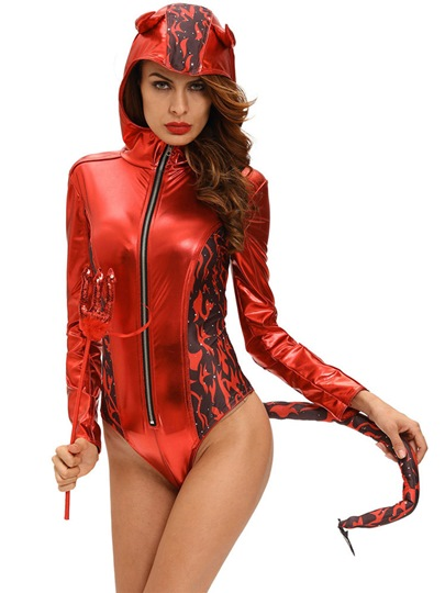 Evil Horns Sexy Long Sleeve Demon Costume