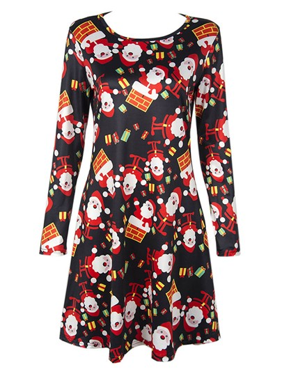 Long Sleeve Christmas Pattern Women's Day Dress