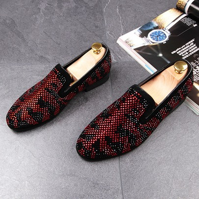 Full Rhinestone Slip On Suede Loafers for Men