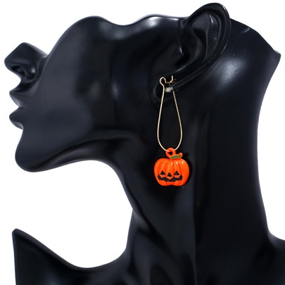 Pumpkin Orange Alloy Metal Personalized Halloween Earrings